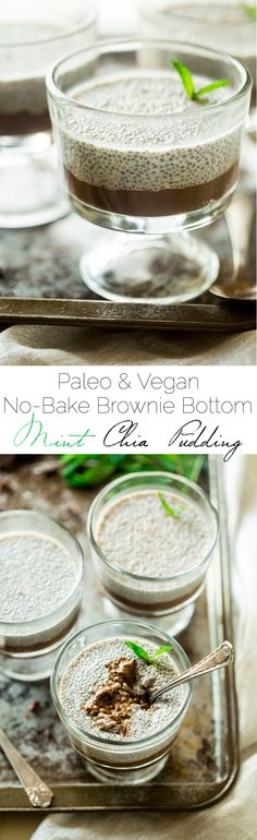 6 Ingredient Paleo and Vegan Brownie Bottom Mint Chia Pudding - This chia pudding recipe has a no-bake, gluten free brownie bottom and is only 6 ingredients and ready in 5 minutes. The perfect, healthy, make-ahead breakfast for Christmas morning!   Foodfaithfitness.com   @FoodFaithFit