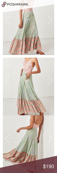 Spell & gypsy collective City Lights maxi skirt Spell & gypsy collective City Lights maxi skirt.  Gently washed once air dried but never worn.  In Sage.  radiant in soft buttery sage and pastel candy-blush hues. beautiful accents of paisley intertwined with hints of starry nights and cosmic vibes and features perfectly placed pockets, fixed waist and invisible side zipper to allow for a feminine and streamlined silhouette that elongates your figure also allowing for a little bit of extra…