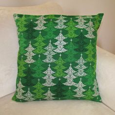 Christmas Cushion Cover, Holiday Decor, Green, Christmas, 18x18 Pillow Cover…