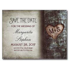 cute rustic country save the date postcards with old tree and carved love heart initials.