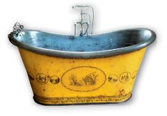 French Bathtub. Hand-Painted & Stenciled Tin. Circa 18th Century.  Imagine the possibilities!