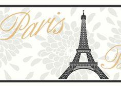 Paris Eiffel Tower wall border York wallpaper, Art wall