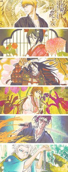 Kurosaki, Kuchikirukia, Kuchiki Byakuya, Inoue, Abarai et Hitsugaya