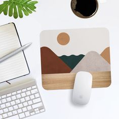 Mouse Pad Abstract Sun Landscape and Faux Wood Pattern Print