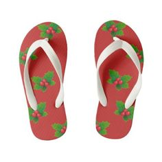 Holly design white strap red Kids Flip flops Girls Flip Flops, Flipping, Keep It Cleaner, Slip On, Cookies, Sandals, Unique, Red, Shoes