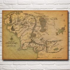 """""""Map of Frodo's Journey"""" Lord Of The Rings Art Poster"""