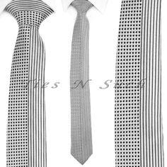 Neckties For Men, Luxury Pure Silk Tie Grey With Black Square Striped Mens Necktie