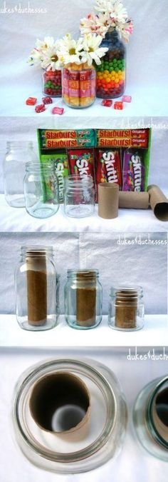 You don't need advanced carpentry skills to get started with these 19 DIY mason jar crafts. These crafts are super easy, cute and take no time to make. Painted Pumpkin Mason Jars From glasses… Pot Mason Diy, Mason Jar Vases, Mason Jar Gifts, Candy Mason Jars, Gifts In Jars, Diy Mason Jar Lights, Gift Jars, Valentines Bricolage, Valentines Diy