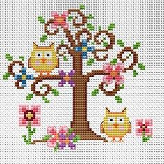 Country Owls, really cute cross stitch pattern . no color chart, just use pattern chart colors as your guide. or choose your own colors. Cross Stitch Owl, Cross Stitch Animals, Cross Stitch Charts, Cross Stitch Designs, Cross Stitching, Cross Stitch Embroidery, Embroidery Patterns, Cross Stitch Patterns, Owl Patterns