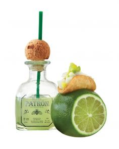 How adorable are these mini margaritas served with mini fish tacos? I want the mini patron bottle....
