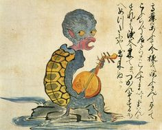 """The """"Korean monk"""" in this illustration, seen singing and playing a gekkin (moon guitar), has the physical characteristics of a kappa (water imp)."""