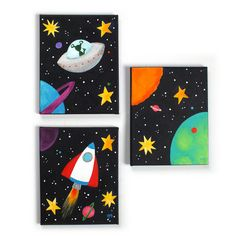 Childrens+Wall+Art+BLACK+SPACE+SET+Set+of+3+8x10+by+nJoyArt,+$125.00