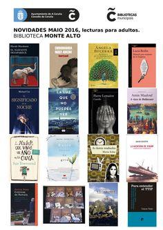 Novas lecturas do mes de maio na sala de adultos da biblioteca Monte Alto.