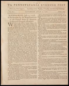First newspaper printing of the Declaration of Independence