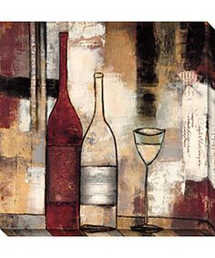 @Overstock.com - The Good Life III Canvas Art - Titled 'The Good Life III,' this contemporary canvas art print depicts two wine bottles and a wine glass against an abstract background. The rich shades of beige, cream, and burgundy add warmth to your room, and the oversized piece comes ready to hang.  http://www.overstock.com/Home-Garden/The-Good-Life-III-Canvas-Art/2472965/product.html?CID=214117 $171.99