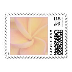 Yellow Plumeria Wedding Postage Stamp