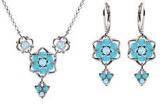 Jewelry Set Necklace and Earrings by Lucia Costin Crafted in 925 Sterling Silver with Light Blue and Turquoise Swarovski Crystals Enriched with Cute Flowers Twisted Lines and Fancy Charms *** More info could be found at the image url.(This is an Amazon affiliate link and I receive a commission for the sales)