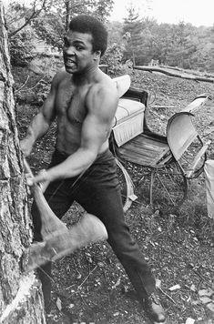 Chopping wood : Muhammad Ali: Rare photos from Ebony
