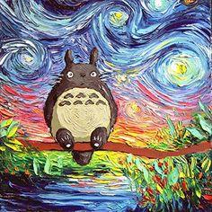 My Neighbor Totoro Art - Starry Night - Kids Decor - Fine art print - giclee - van Gogh Never Met His Neighbor - Art by Aja 8x8, 10x10, 12x12, 20x20, 24x24 inch print sizes