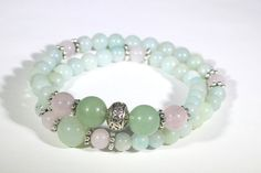 Green and pink jade wrapped stretch bracelet silver by shophl