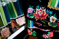 A bottom of womans costumes from Łowicz. Embroidery of flowers