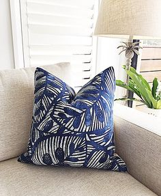 Modern Tropical Palm Leaf Pillows, Tropical Cushion Covers, Navy Blue Cushions, Gallant Scatter Cushion, Emerald Green Pillows Navy Blue Cushions, Green Pillows, Modern Tropical, Tropical Decor, Bean Bag Canopy, Cushion Fabric, Linen Fabric, Tropical Fabric, Scatter Cushions