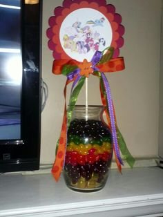 Here is one of the My Little Pony center pieces for Ariana's birthday party this Sat