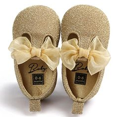Voberry Toddler Baby Girls Boy's Sneaker Moccasins Anti-slip Soft Sole Bow Shoes (06Month Gold)