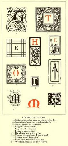 """Initial letters.  From the book, """"The art & practice of typography : a manual of American printing, including a brief history up to the twentieth century, with reproductions of the work of early masters of the craft, and a practical discussion and an extensive demonstration of the modern use of type-faces and methods of arrangement (1917)."""""""