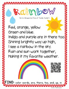 Enjoy this FREE Rainbow poem poster with QR code to hear it sung to you as well! This is also a part of my March Shared Reading Pack that includes more than you can imagine! Preschool Poems, Kindergarten Poems, Kids Poems, Quotes For Kids, Spring Songs For Preschool, Spring Songs For Kids, Rainbow Poem, Rainbow Songs, Rainbow Dash