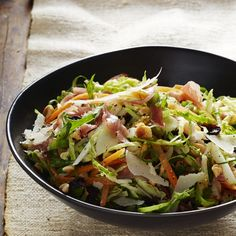 Brussels Sprout and Prosciutto Slaw with Hazelnut Dressing http://www.prevention.com/food/healthy-recipes/healthy-brussels-sprouts-recipes/slide/9