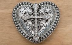 M&F Western Products® Silver Heart with Crystal Cross Buckle | Cavender's