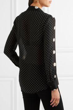 Boutique Moschino - Polka-dot Silk-chiffon Shirt - Black - IT40