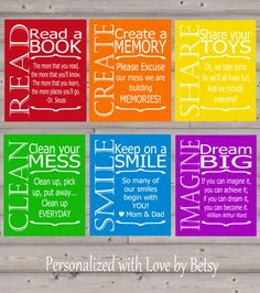 Kids Playroom Art Set of Six (6) 8x10 Wall Prints Decor on Etsy, $54.00
