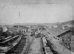 1870 körül. A Nyugati pályaudvar helyén álló indóház