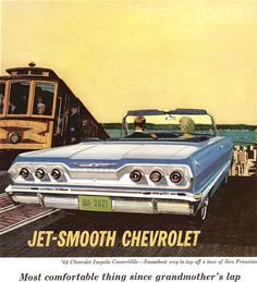 Vintage Cars Chevrolet Impala Convertible 1963 - Mad Men Art: The Vintage Advertisement Art Collection - Chevrolet Impala Convertible 1963 - Mad Men Art: The Vintage Advertisement Art Collection Chevrolet Impala 1970, 63 Chevy Impala, Vintage Advertisements, Vintage Ads, Vintage Designs, Abandoned Cars, Car Advertising, Car Posters, Car Drawings