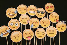 8 Emoji Face Photo Booth Props you pick by WonderfullyMadeBows
