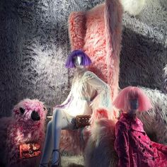 """BERGDORF GOODMAN, New York, """"A hair raising window display like this was bound to grab your attention!"""", (Thanks for showing us the true definition of a good hair day), pinned by Ton van der Veer"""