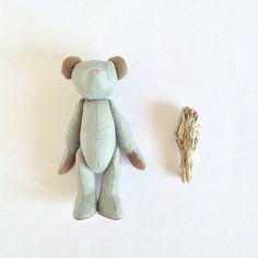 Sage Teddy Bear Smoke Green Suede Bear Woodland by moonroomkids