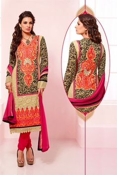Stylish straight cut georgette salwar suit