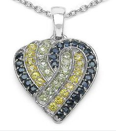 Blue, green and yellow sapphire pendant from semiprecious.com