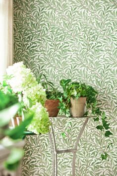Willow Boughs by Morris - Willow / Ecru - Wallpaper : Wallpaper Direct William Morris Tapet, William Morris Patterns, William Morris Wallpaper, Morris Wallpapers, Kitchen Wallpaper, Green Wallpaper, Home Wallpaper, Cottage Wallpaper, Front Room Decor