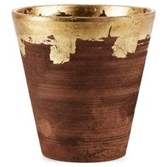 """Check out this item at One Kings Lane! 8"""" Gold Rim Planter.  Idea is to paint your own pot....doesn't matter what it looks like.   More aged."""