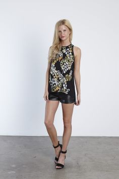 printed tank with keyhole back and pleather shorts #eightsixty #holiday13