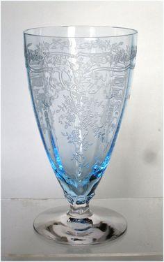 1930's Fostoria Glass Azure Blue June etch
