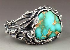 Sculptural Sterling Silver and High-Grade Royston Turquoise Bracelet same girl myatt   very nice!!!!!!