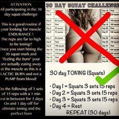 30 day toning challenge.: 30 Day Challenge, Bum Exercise Challenges, Toning Squats, 30 Day Squat Challenge Results, Squat Challenge 30 Day, Toning Challenge, 30 Day Belly Fat Challenge, Squats Challenge, Booty Workouts