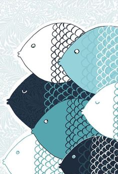 graphic, stylized schooling fish print