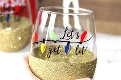 Lets Get Lit Glitter Wine Glass // Funny Christmas Wine Glass // Christmas Gift for Her // Christmas Party Cups // Christmas Drinking Glass by OhDarlingDrinkware on Etsy https://www.etsy.com/listing/502765035/lets-get-lit-glitter-wine-glass-funny