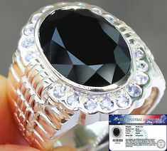 MEN'S HUGE 16.25 cts GENUINE BLACK SPINEL & TANZANITE RING 925SS  S#10 NR #JPS #Gents